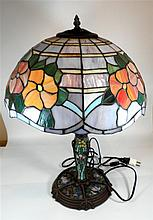Desktop lamp, metal and glass, Tiffany style