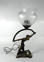 Old Israeli brass table lamp, Art-Deco style