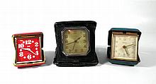 Lot 3 old folding alarm clocks
