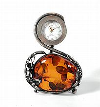 Small desktop clock, 925 sterling silver case with inlaid large amber