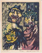 Miron Sima Color Woodcut 'Purim' ex.77/100 signed 1971