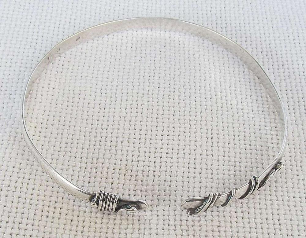 Vintage modernist silver armlet upper arm cuff bracelet