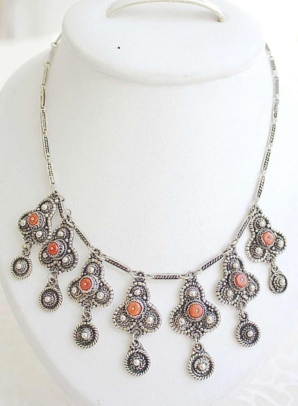 Bezalel Yemenite filigree silver sterling 935 old wedding necklace set with coral, 38gr.