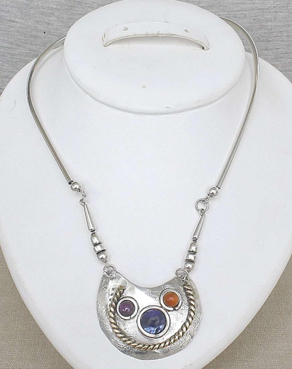 Vintage modernist brass and silver sterling 925 collar necklace set with gemstones, signed, 31gr.