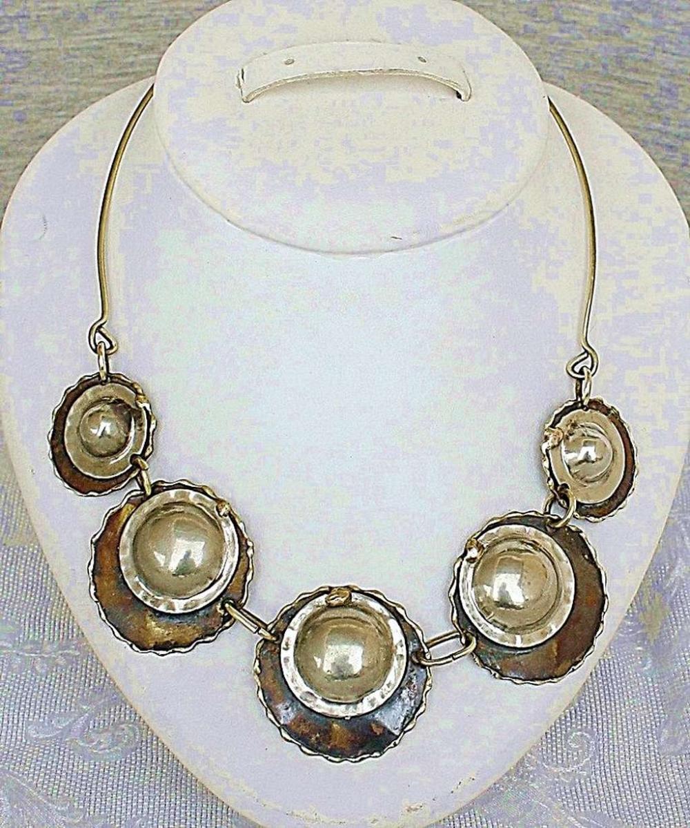 Vintage modernist brass and alpaca necklace / collar