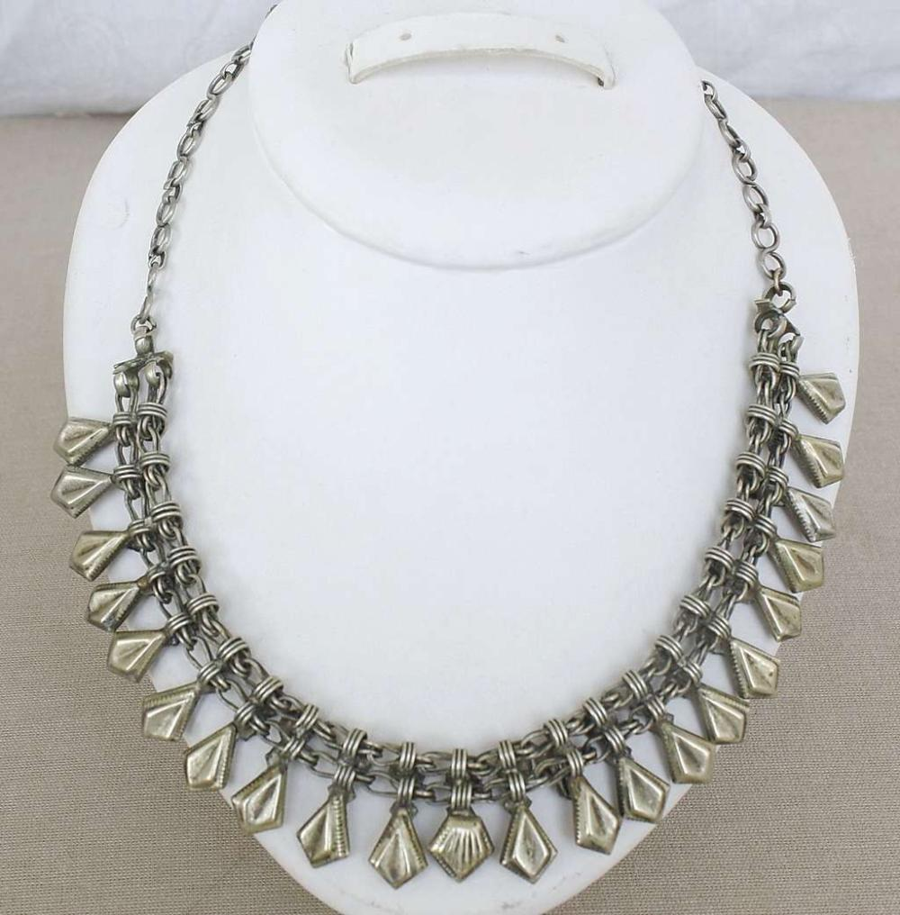 Antique Afghanistan Afghan Pashtun Silver Necklace 79gr., tested