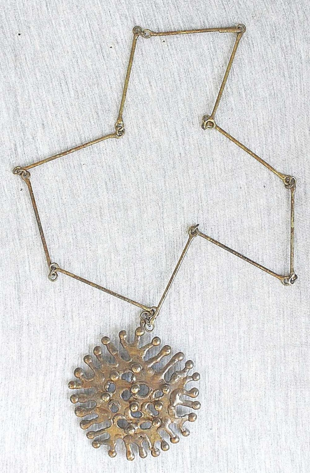 Vintage modernist patina bronze artisan necklace