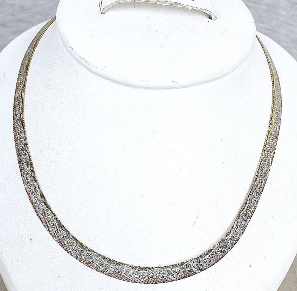 Italy vintage guilloche yellow and red gold and silver sterling 925 necklace collar, 22gr.