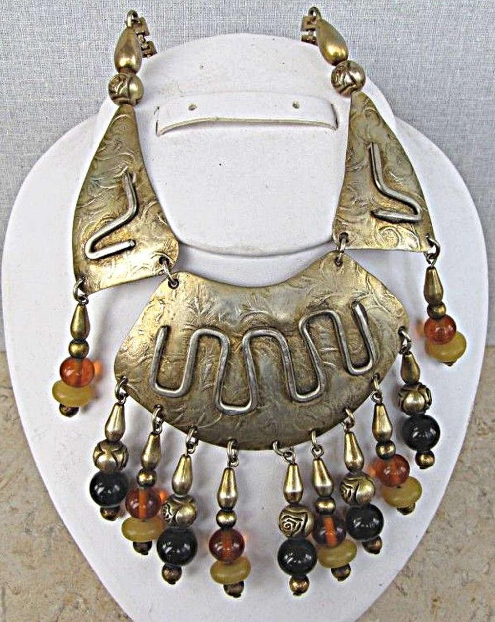 LILLO Vintage modernist gilt brass necklace with amber and agate charms, signed.