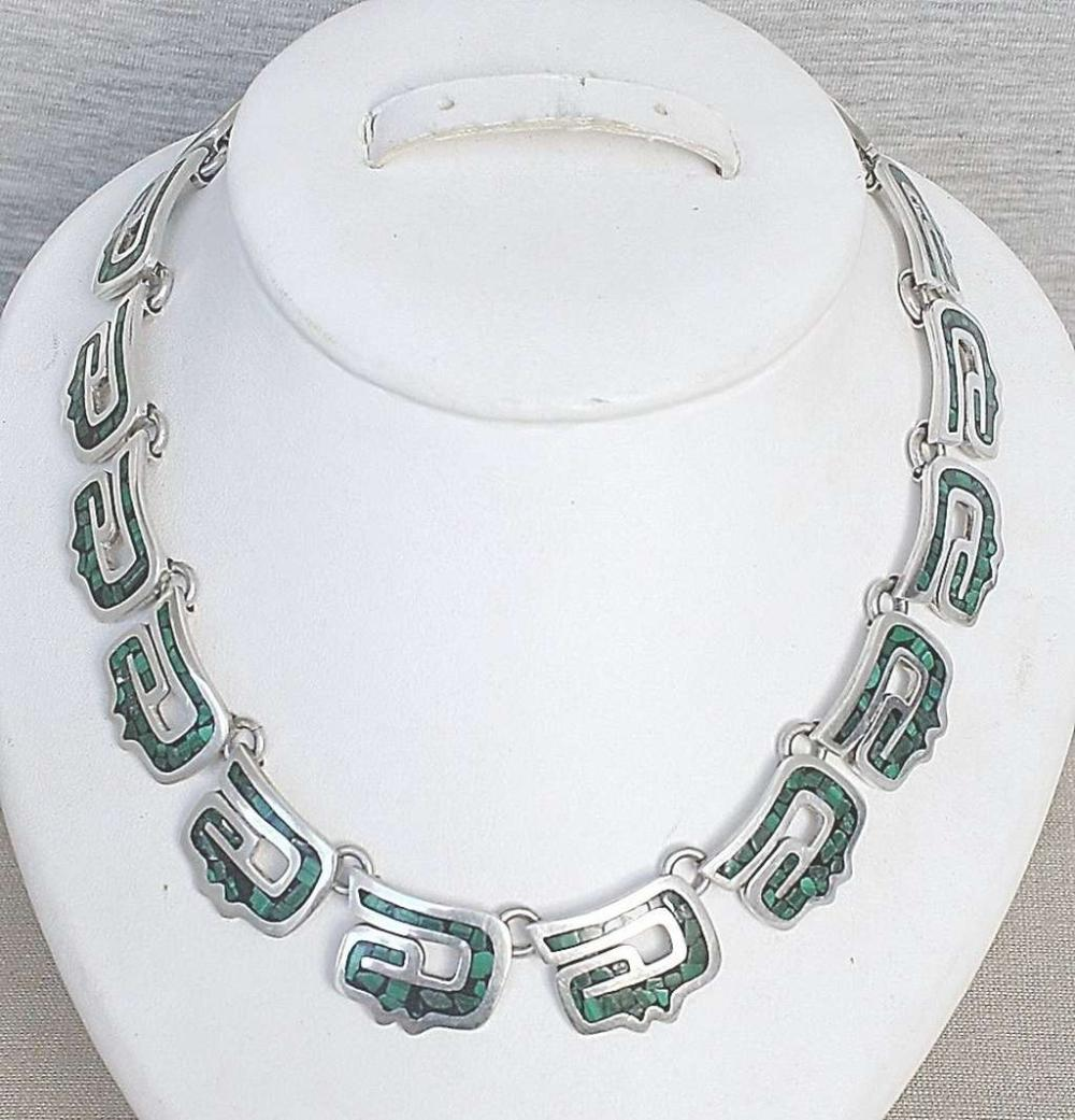 Mexico Taxco art deco massive silver sterling 925 Aztec Necklace with malachite mosaic, 108gr.