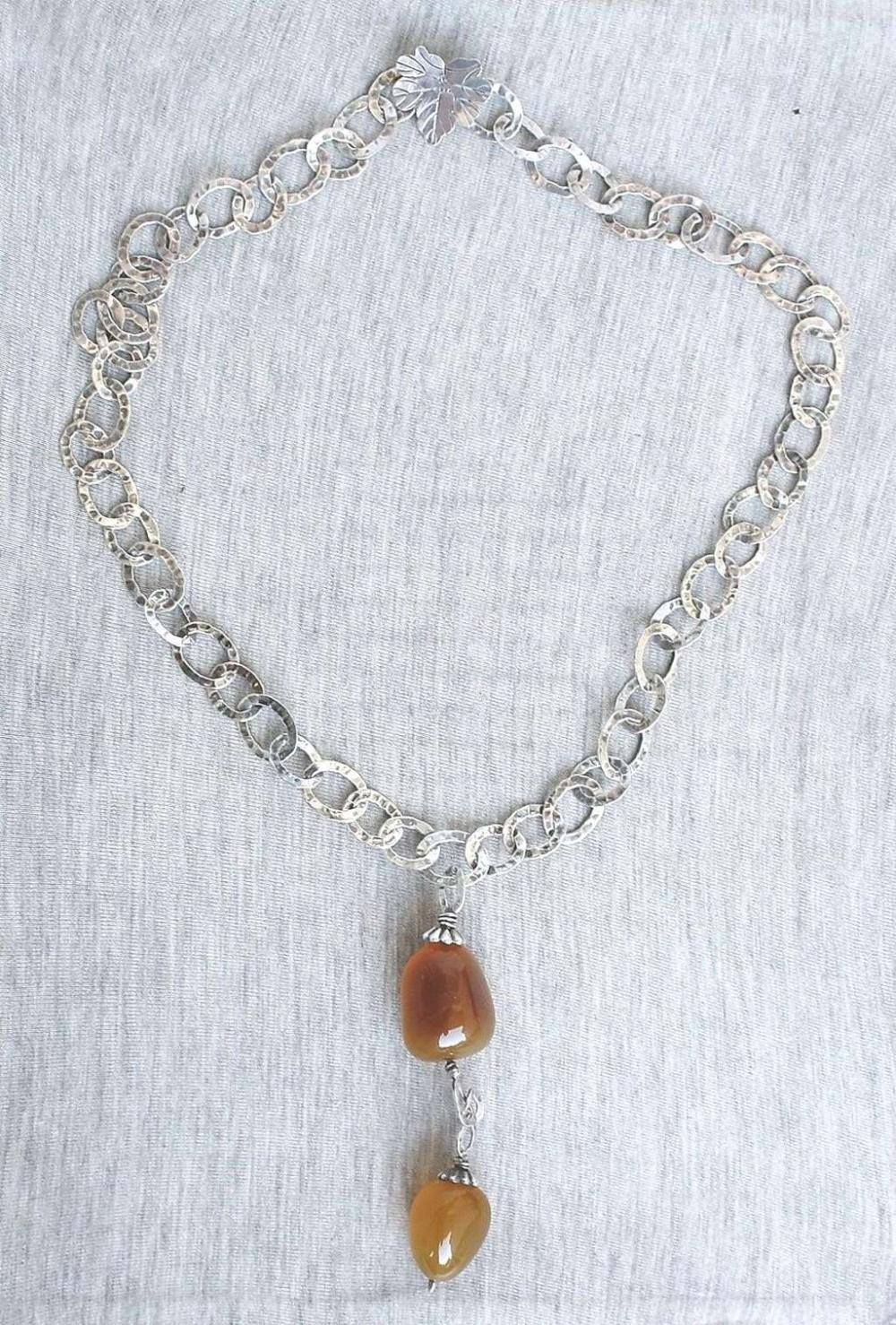 G.R.A.S. Vintage solid silver sterling 925 necklace with agate charm, 60gr.