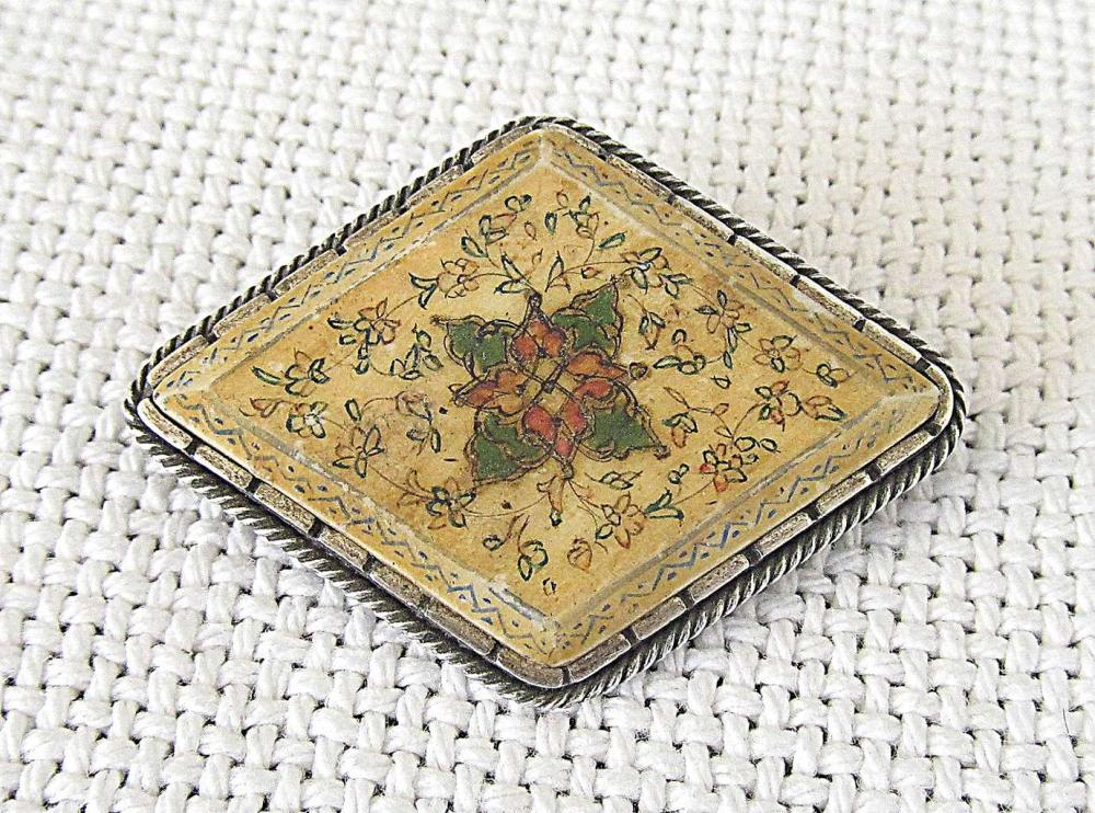 Bezalel antique painted on ivory miniature silver sterling brooch, signed, Palestine