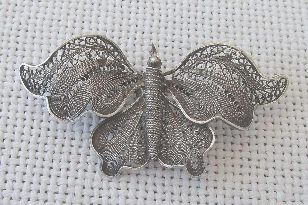 Antique filigree silver sterling butterfly brooch, Palestine.