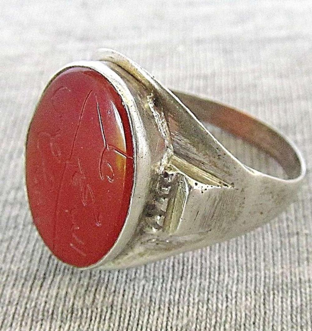 Antique Islamic Arabic silver amulet talisman ring set with engraved carnelian, size: 10.25