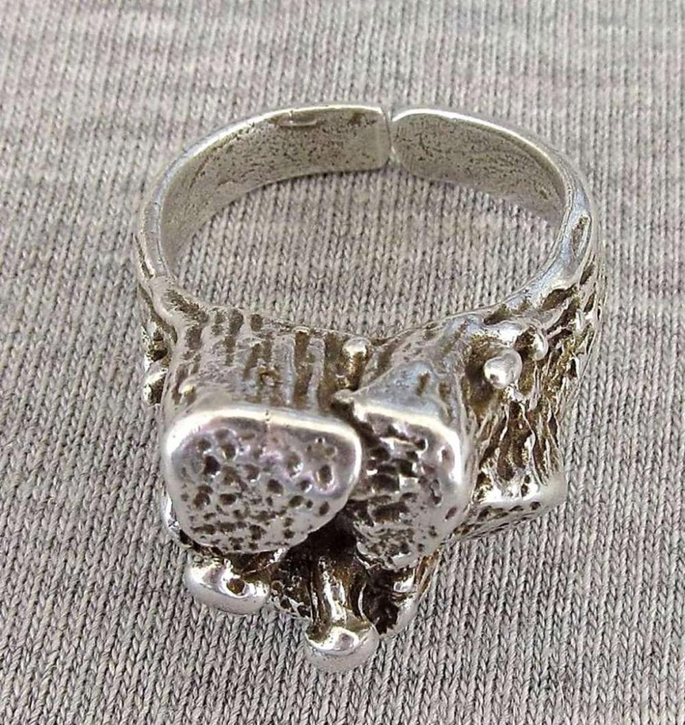 Vintage modernist silver sterling 925 ring, size: 7.25, Hazorfim, Israel.