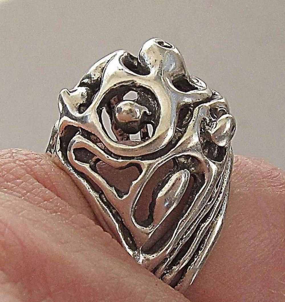 Vintage modernist silver sterling 925 ring, size: 6.75, Israel.
