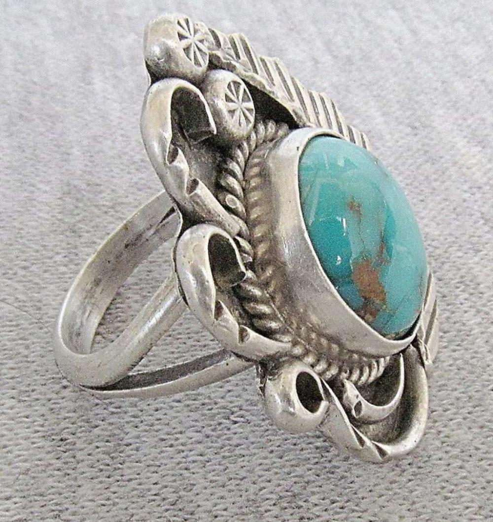 Navajo Native American engraved silver sterling ring set with turquoise, size: 7.75, signed