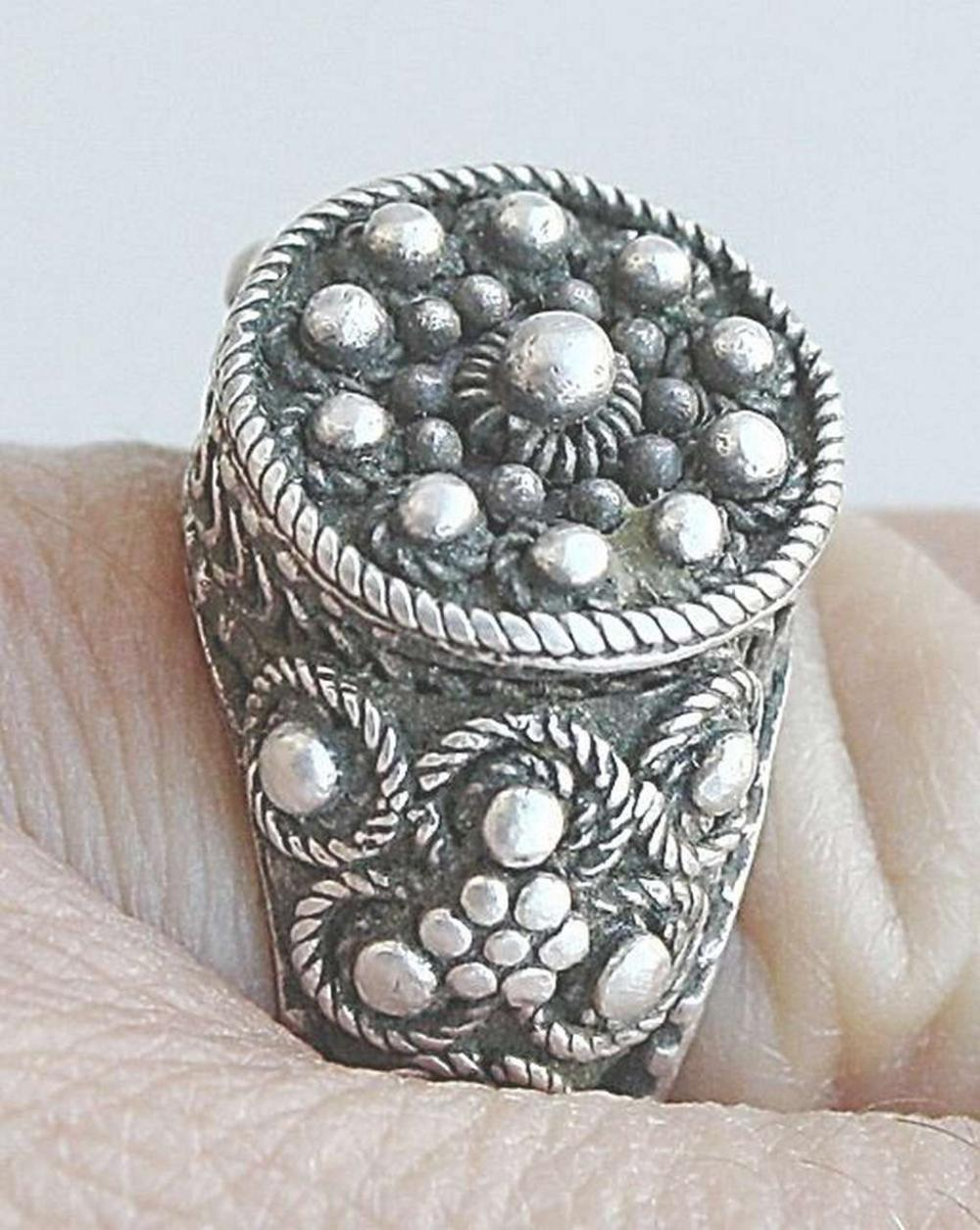 Yemenite antique filigree silver sterling jewish wedding ring, size: 7,