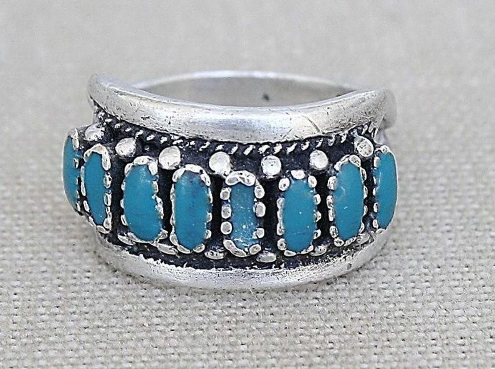 Vintage silver sterling ring with blue enamel, signed.