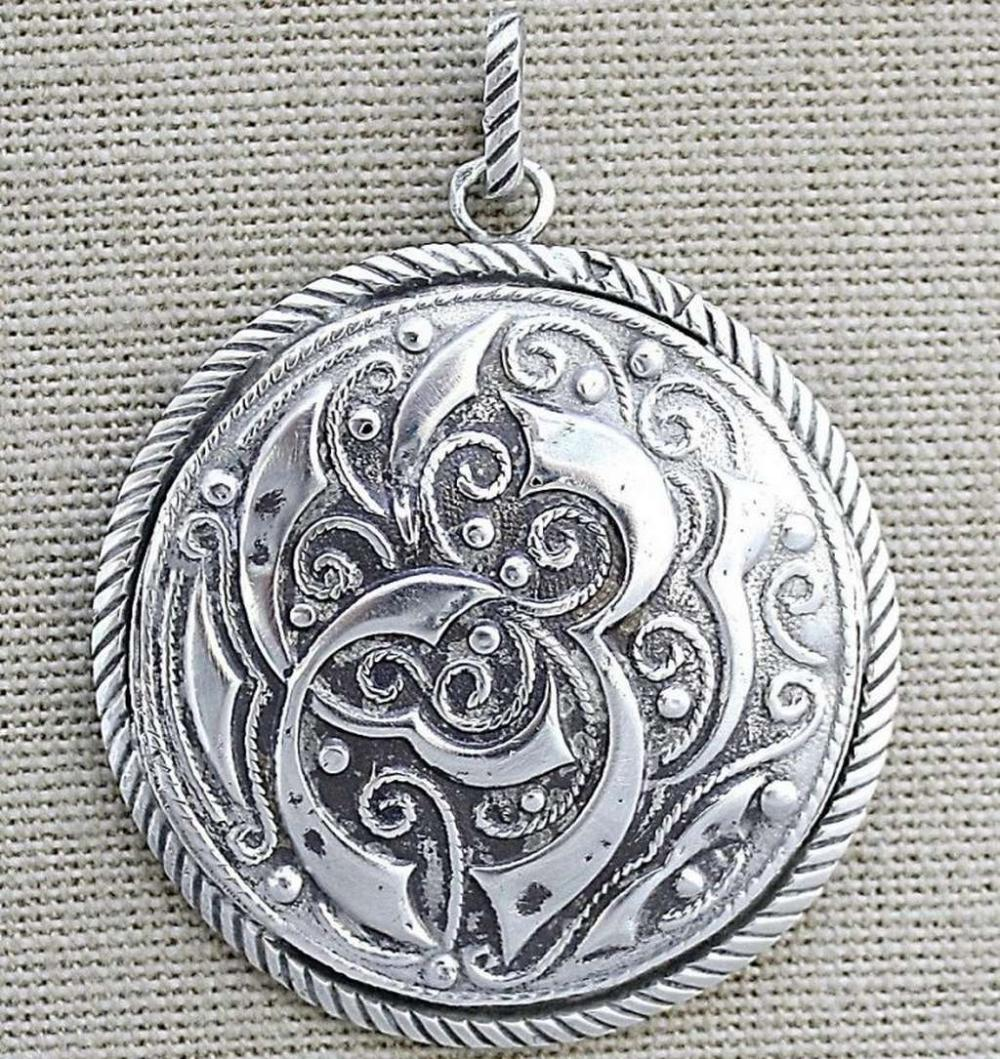 Antique oriental engraved silver sterling pendant, signed