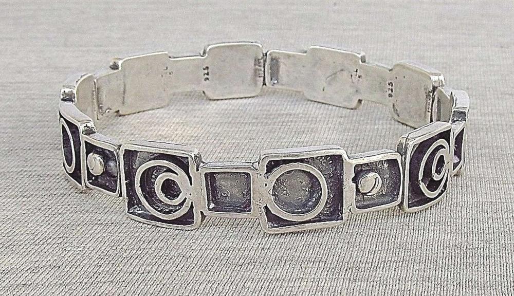 Vintage modernist silver sterling 925 bangle bracelet, 30gr., Israel
