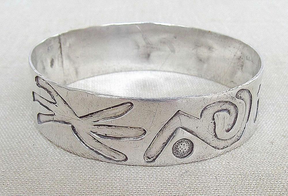 Vintage modernist solid silver sterling 925 bangle bracelet, 37gr.,