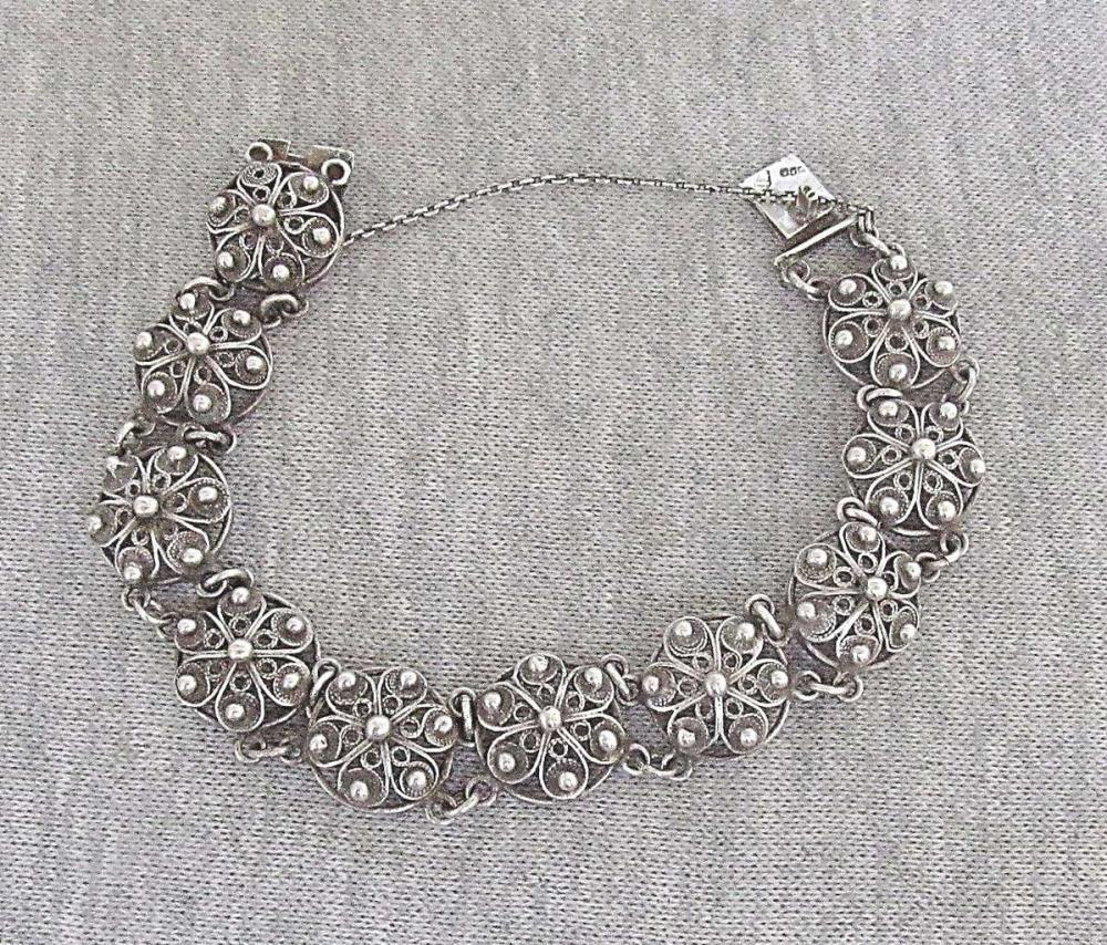 Italy Genova art deco filigree silver 800 link bracelet, signed