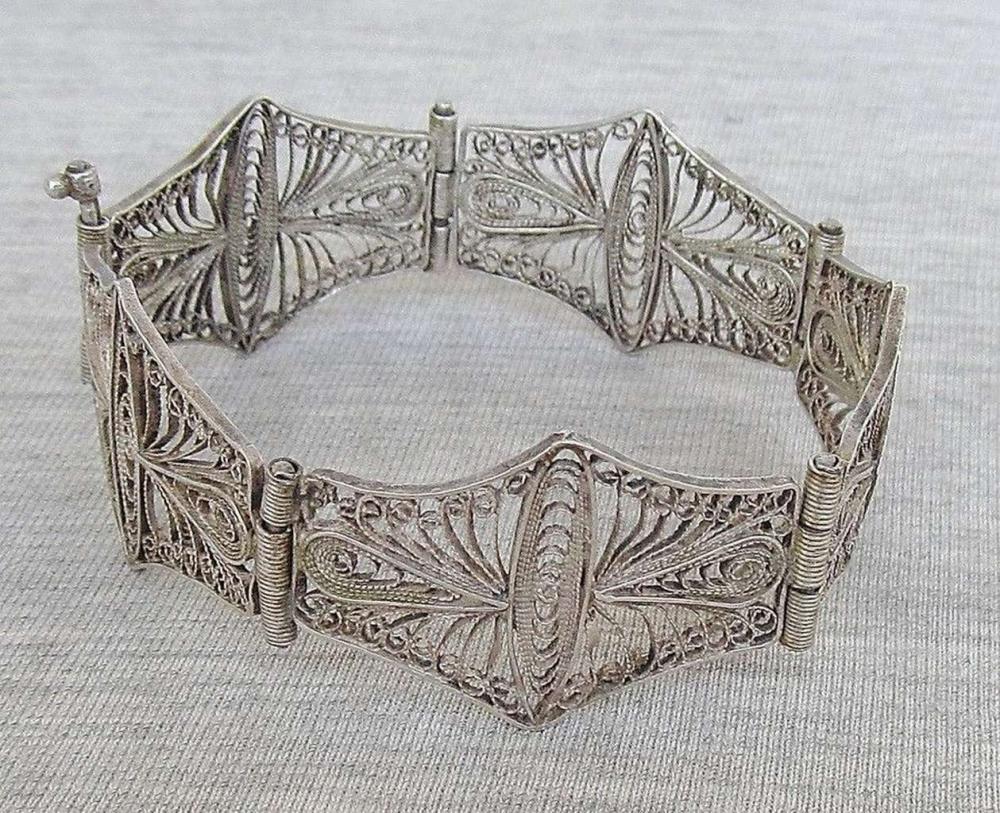Bezalel Yemenite fine filigree silver link bracelet, 17gr.