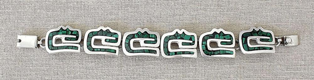 Mexico Taxco art deco massive silver sterling 925 Aztec Bracelet with malachite mosaic, 43gr.