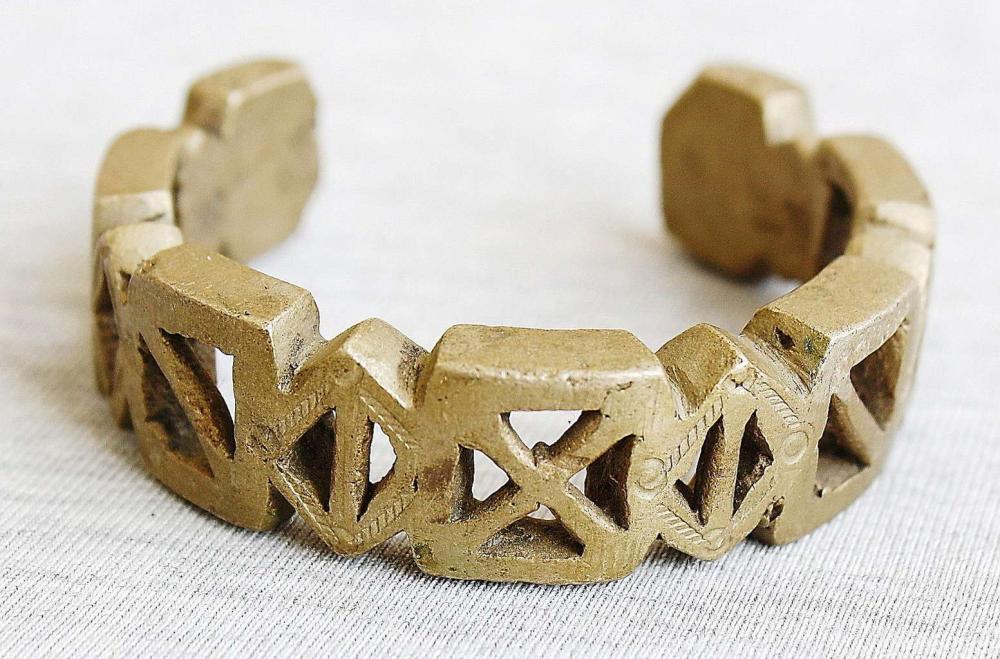 African antique tribal massive bronze pierced cuff Bracelet, Nigeria, Bida, such bracelets were used as currency too.