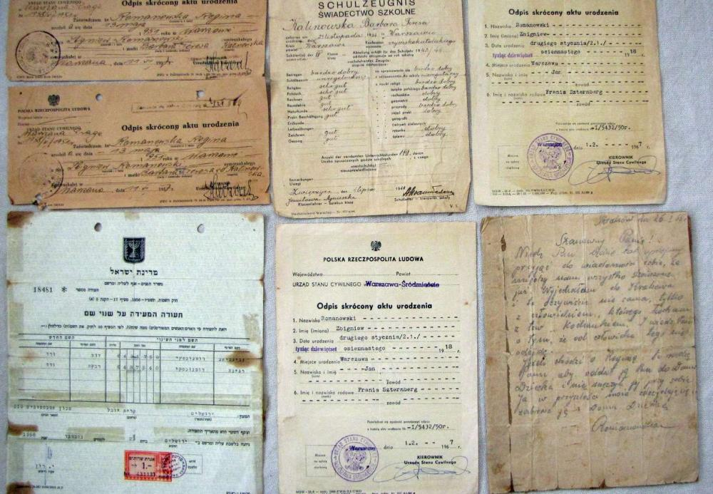 Holocaust. Jewish family survived holocaust by converting to catholicism. After immigration to Israel they changed their names to jewish ones. 5 paper