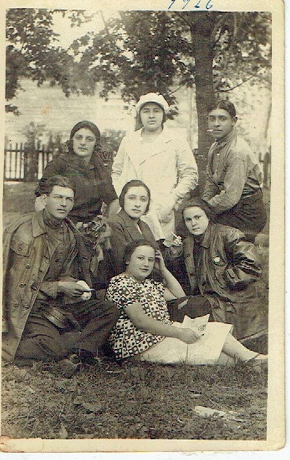 Group photo of Jewish NKVD members, Ovruch, Ukraine, 1926, sent to Palestine, in Russian.