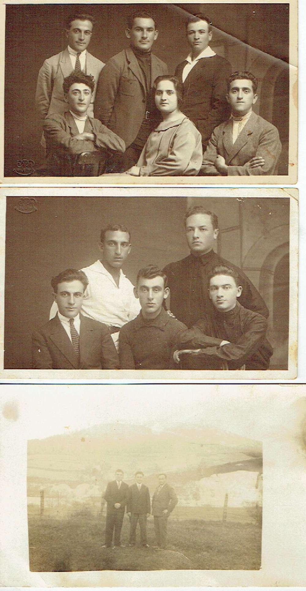 3 antique photos of Jewish activists in Palestine, Jerusalem, Golan Heights, stamp of photo studio in Jerusalem, 1920s.