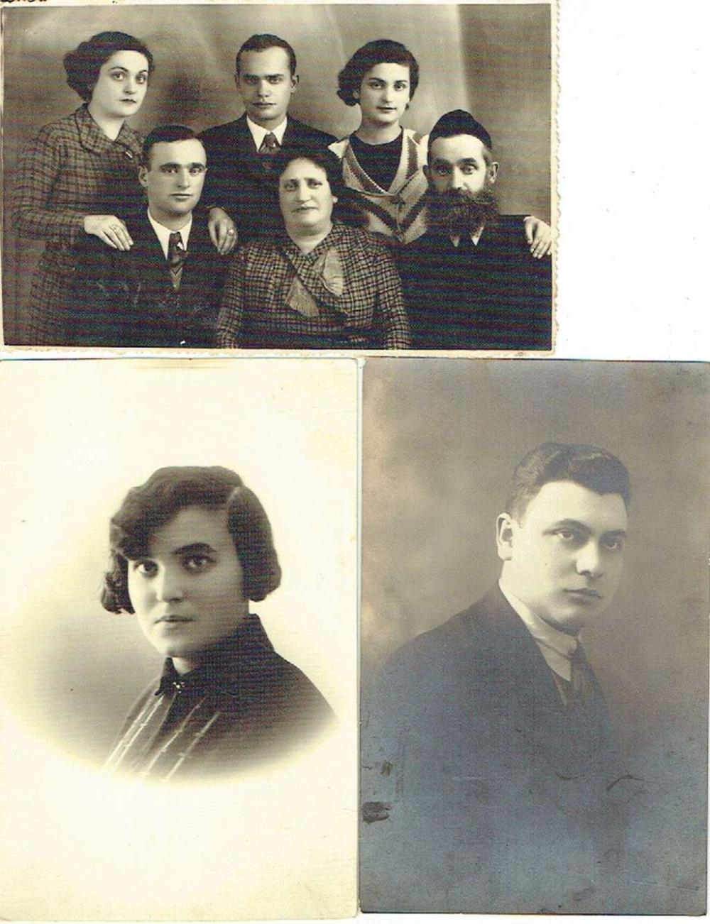 3 Photos of a Jewish family from Lublin Poland sent to Palestine, 1929, 1935, 1936