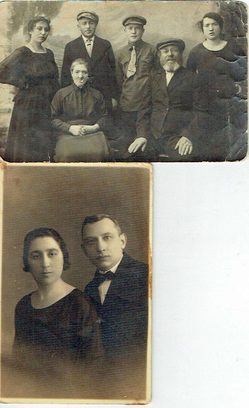2 antique photos of a Jewish family from Bialystok, Poland, in Yiddish