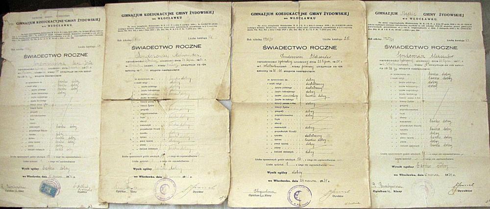 12 Private Jewish Gymnasium certificates of a Jewish boy Senderowicz Alecksander, Wloclawek. Poland, 1928-1935.