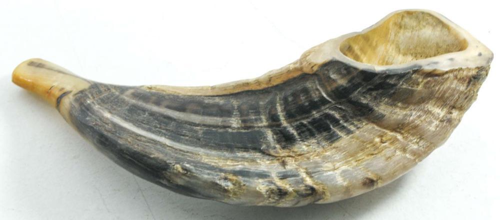 Antique Shofar Ram's Horn for Yom Kippur. Length: 22cm.