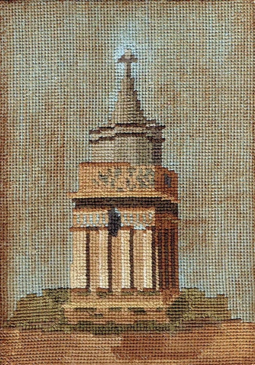 Bezalel. Tomb of Absalom. Antique embroidery, laid on panel, size: 24 x 17 cm.