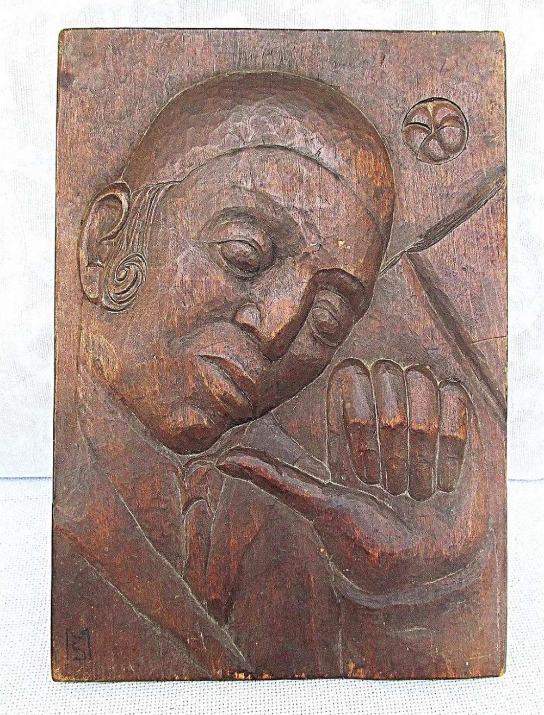 Yemenite Jew. Antique Carved Wood Panel. Signed: MS