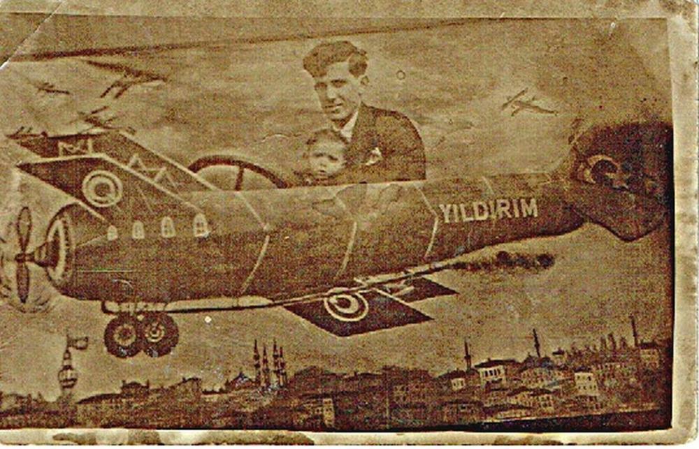 Photomontage postcard Photo. Jewish family in a plane. Istanbul, Turkey, 1920s