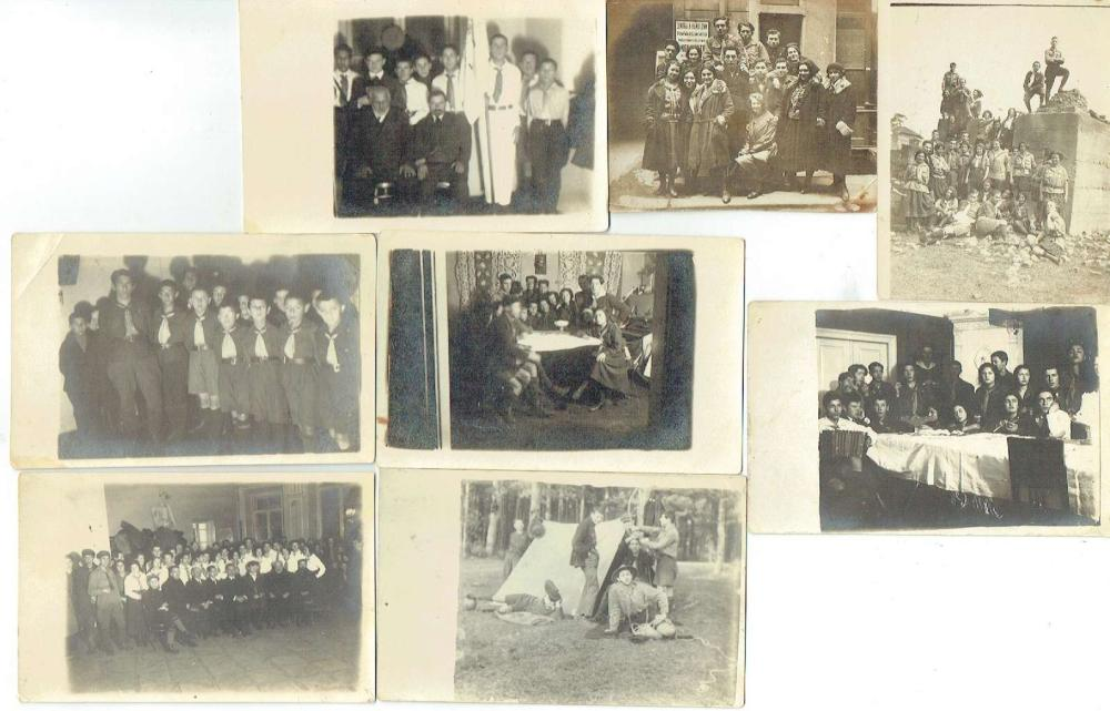 8 photos of Poalei Zion Members in Uniform, Poland 1925