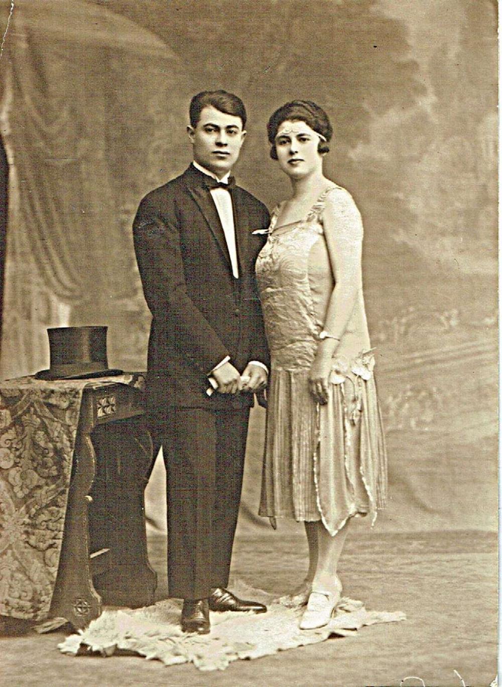 Antique Wedding Photo of a Jewish Couple.