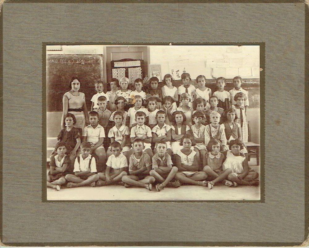 Group photo of a Jewish school class, 2nd year, Kibbutz Palestine, 1934