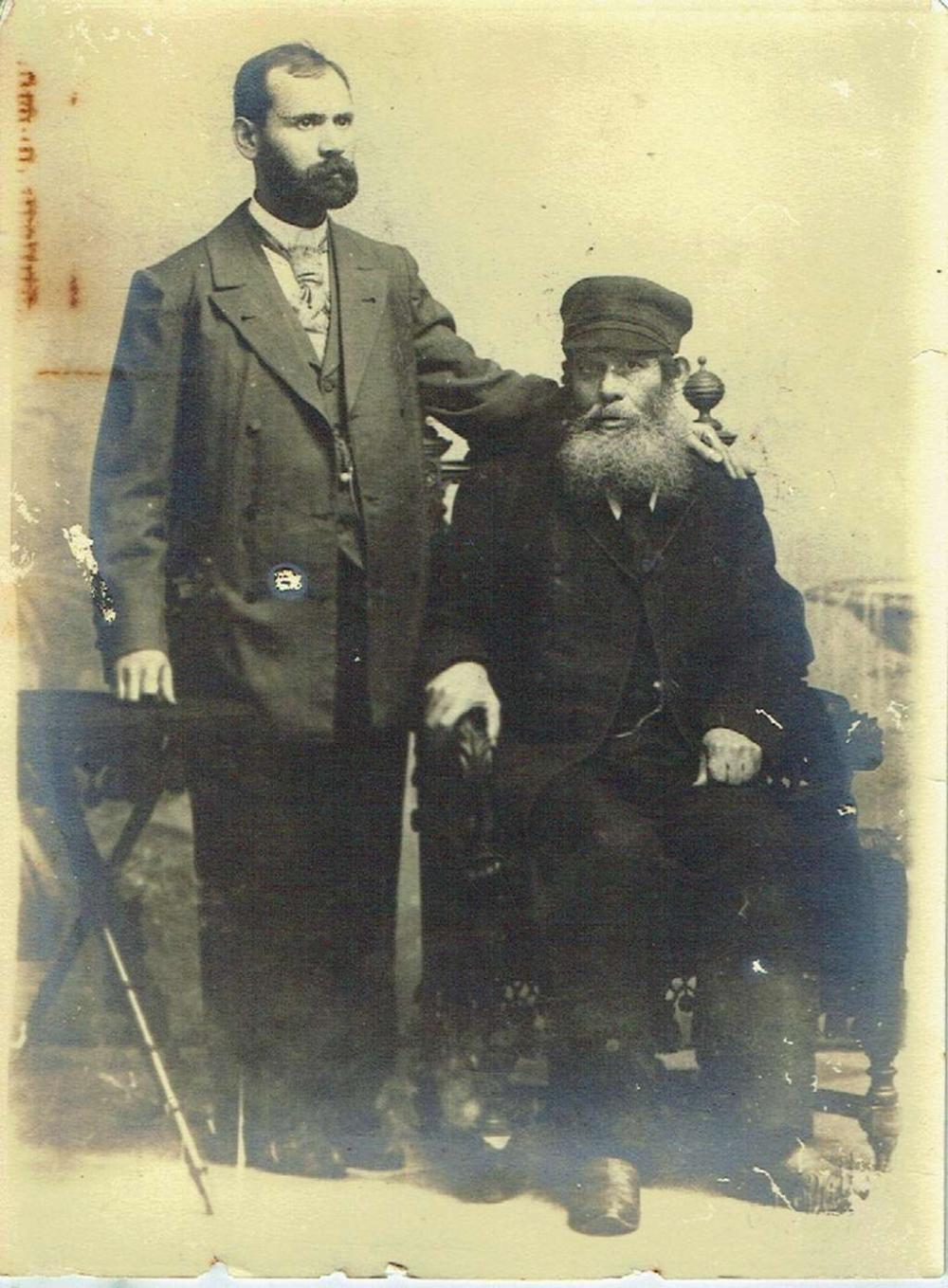 A Rabbi and his son. Antique photo. Eastern Europe, signed