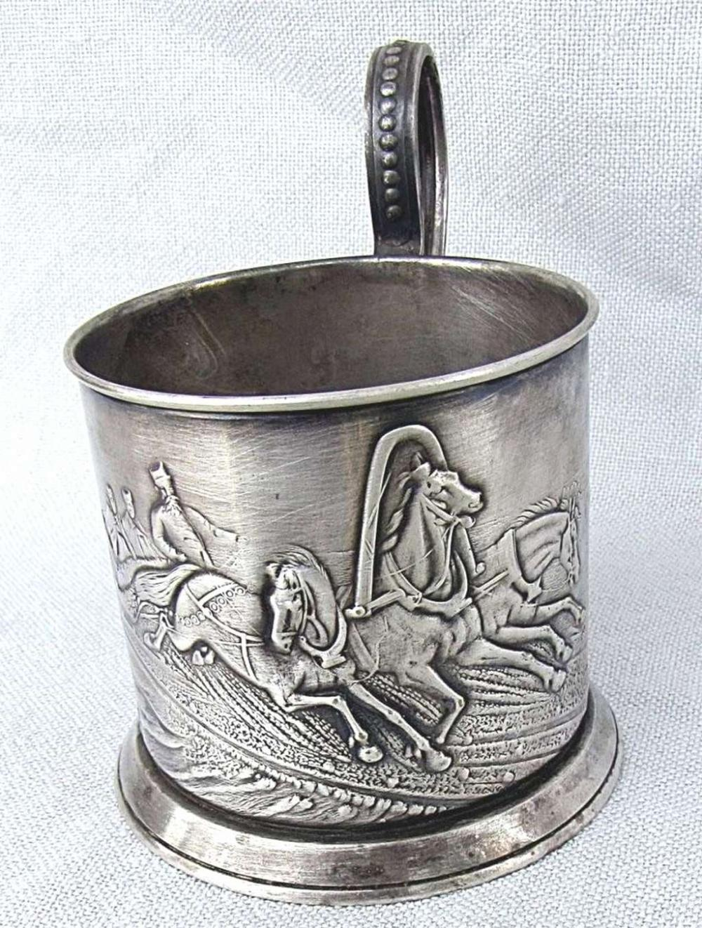 """Russian soviet """"Troika"""" Silver plated old Glass Holder Signed: Mstera"""