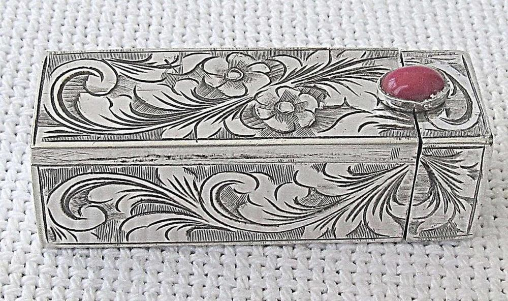 Antique Silver 800 floral engraved Lipstick Holder Case with Mirror set with Coral