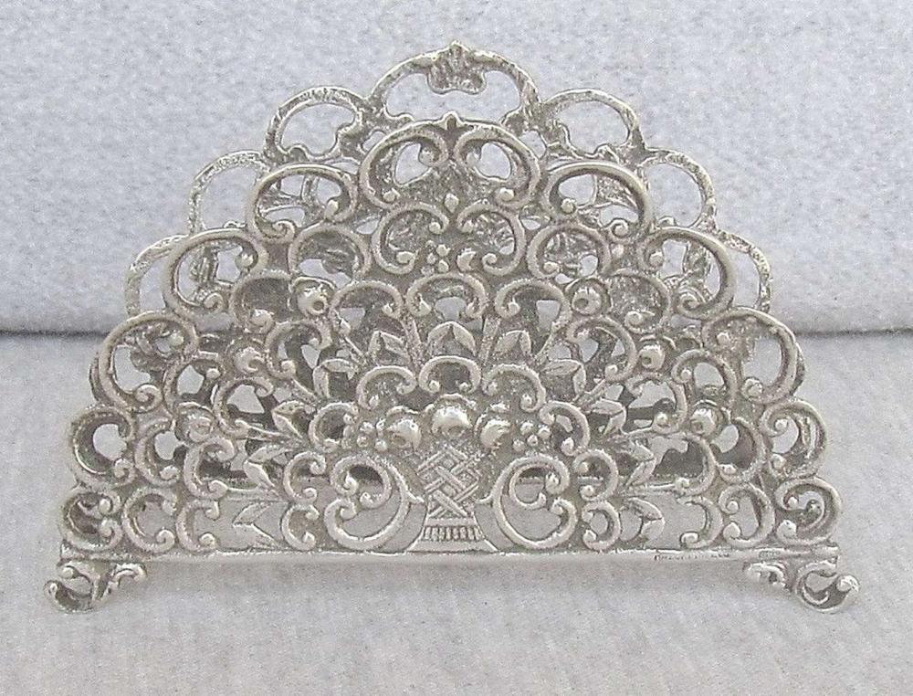 Old pierced silver napkin holder - vase w/ flowers, 51gr, Hazorfim