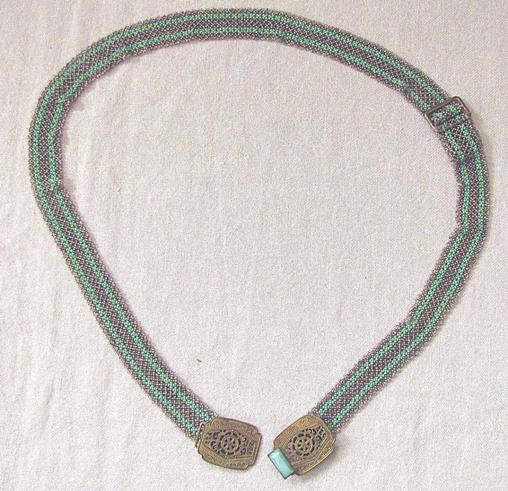 Antique women's glass beaded belt with brass buckle set w/ lucite