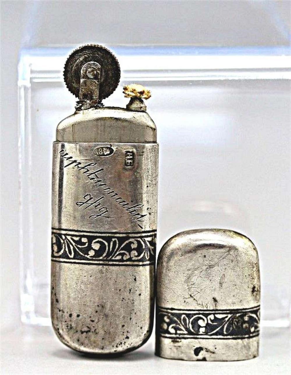 Russian Art Nouveau Niello Silver 84 Lighter, signed, pre 1917