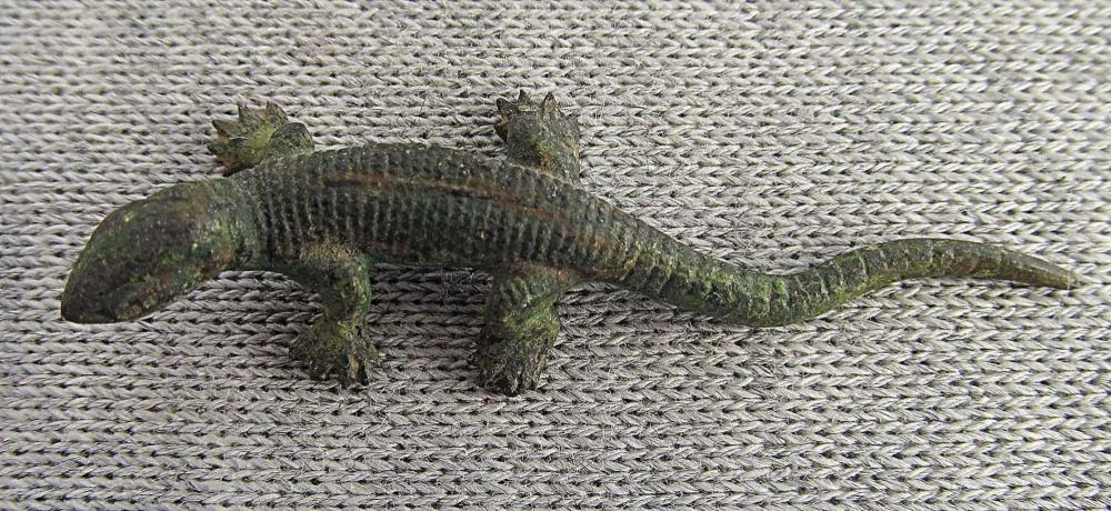 Austria Vienna Bergman Antique Painted Bronze Miniature Figurine Lizard